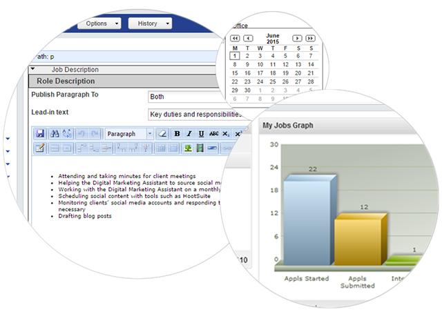 Screenshots of Hireserve ATS recruitment software