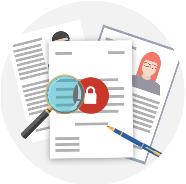 Image of candidate CVs, a magnifying glass and a pen to signify the impact of GDPR on in-house recruitment