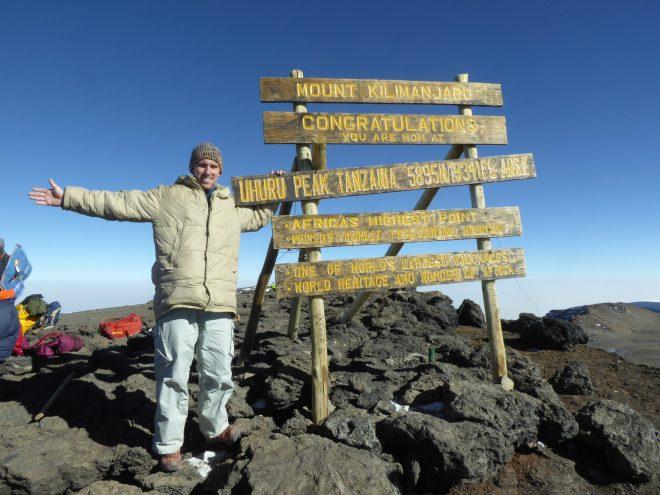 Phil at the peak of Kilimanjaro