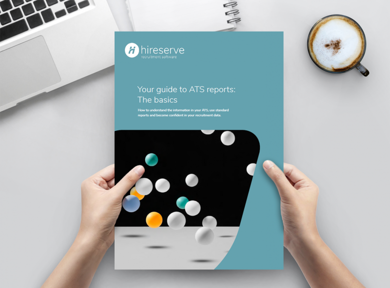 Image of Hireserve ATS reporting and recruitment analytics guide, being held by two hands